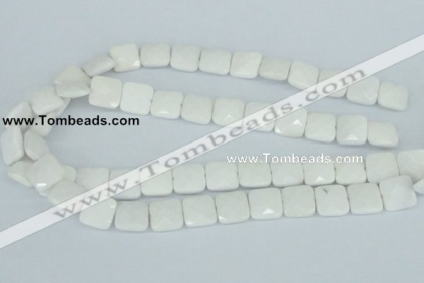 CAA05 15.5 inches 14*14mm faceted square white agate gemstone beads