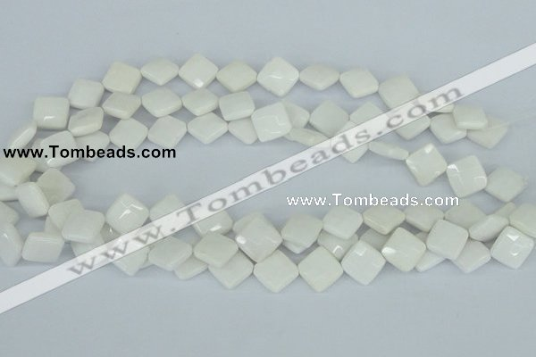 CAA09 15.5 inches 12*12mm faceted diamond white agate gemstone beads