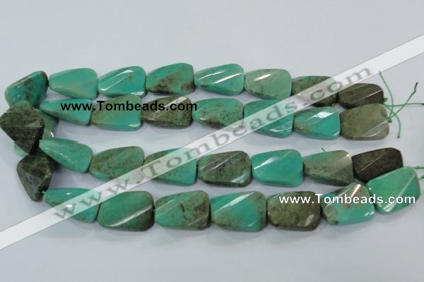 CAA100 15.5 inches 15*20mm faceted & twisted rectangle grass agate beads