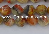 CAA1015 15.5 inches 8mm faceted nuggets red crazy lace agate beads