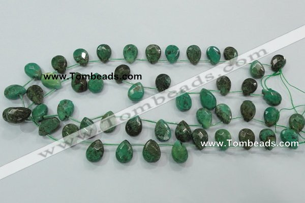 CAA102 15.5 inches 12*16mm briolette grass agate gemstone beads