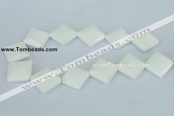 CAA11 15.5 inches 25*25mm faceted diamond white agate gemstone beads