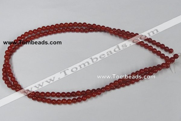 CAA110 15.5 inches 5mm round red agate gemstone beads wholesale