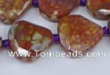 CAA1135 18*20mm - 25*35mm faceted freeform dragon veins agate beads