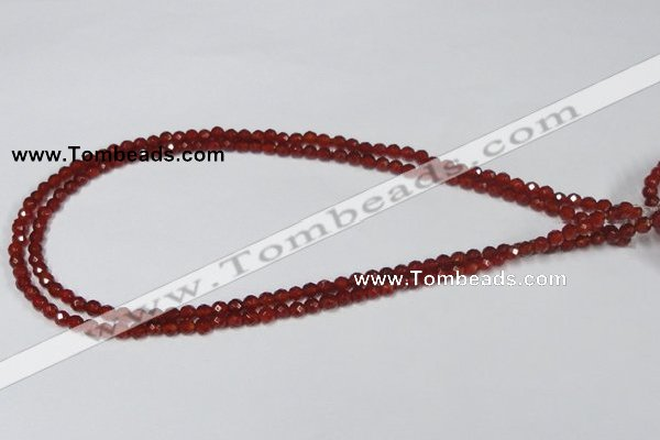 CAA117 15.5 inches 4mm faceted round red agate gemstone beads