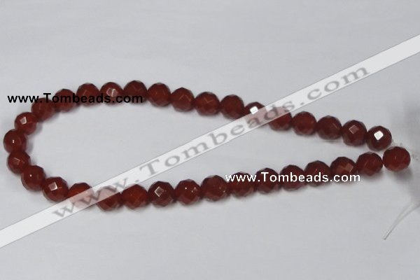 CAA119 15.5 inches 12mm faceted round red agate gemstone beads