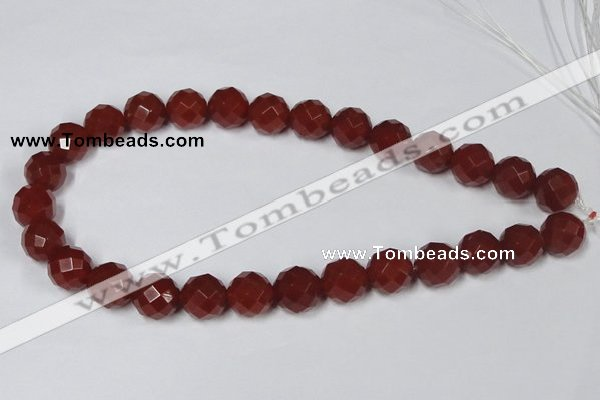 CAA120 15.5 inches 14mm faceted round red agate gemstone beads