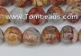CAA1222 15.5 inches 8mm round gold munatain agate beads