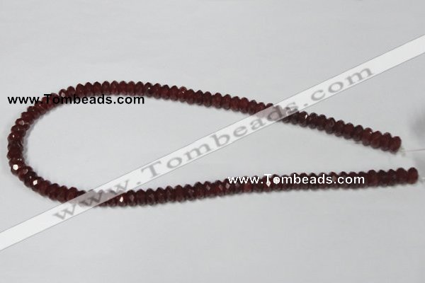 CAA123 15.5 inches 5*8mm faceted rondelle red agate gemstone beads
