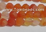 CAA1236 15.5 inches 6mm faceted nuggets matte red agate beads