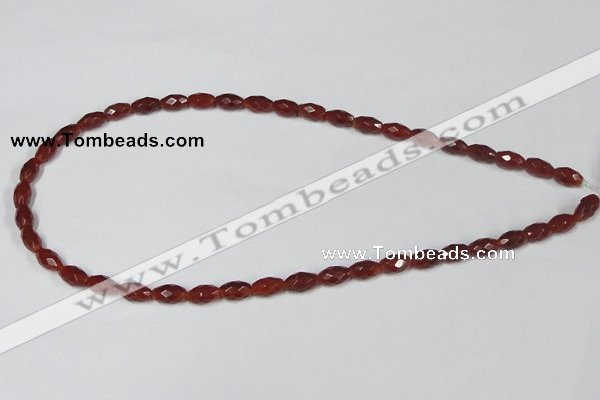 CAA124 15.5 inches 6*10mm faceted rice red agate gemstone beads