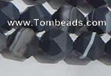 CAA1245 15.5 inches 12mm faceted nuggets matte black line agate beads
