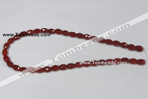 CAA125 15.5 inches 8*10mm faceted rice red agate gemstone beads