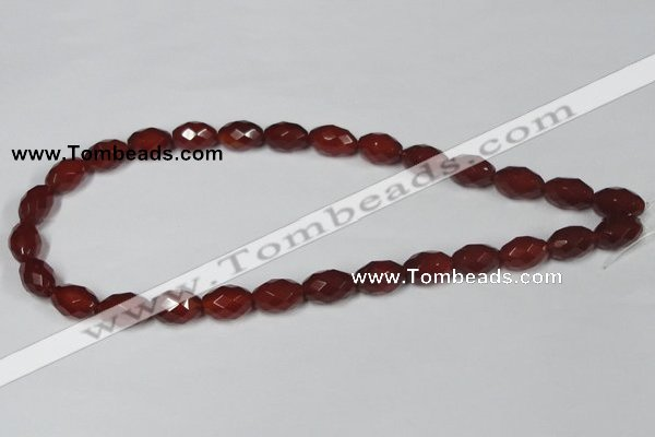 CAA126 15.5 inches 10*14mm faceted rice red agate gemstone beads