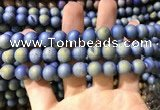 CAA1317 15.5 inches 10mm round matte plated druzy agate beads
