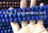 CAA1319 15.5 inches 10mm round matte plated druzy agate beads
