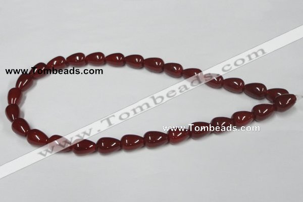 CAA132 15.5 inches 10*14mm teardrop red agate gemstone beads