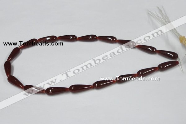 CAA133 15.5 inches 8*22mm teardrop red agate gemstone beads