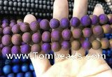 CAA1334 15.5 inches 12mm round matte plated druzy agate beads