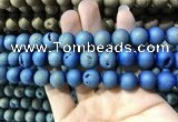 CAA1338 15.5 inches 12mm round matte plated druzy agate beads
