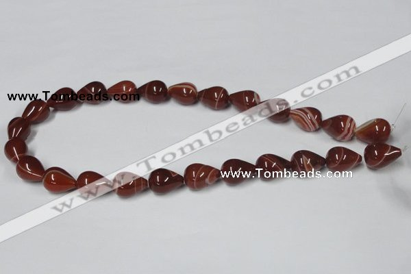 CAA135 15.5 inches 8*16mm teardrop red agate gemstone beads