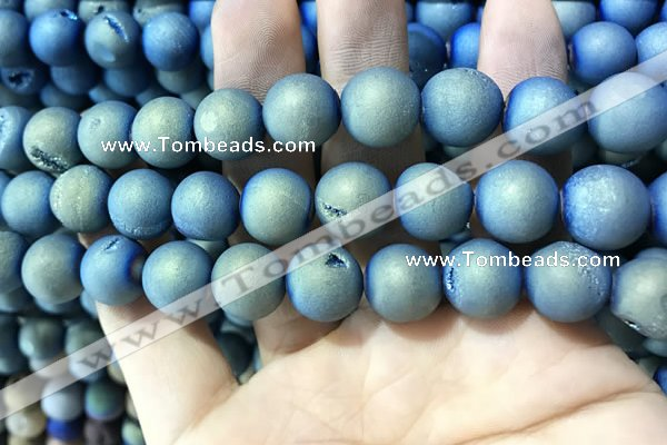 CAA1357 15.5 inches 14mm round matte plated druzy agate beads
