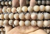 CAA1372 15.5 inches 16mm round matte plated druzy agate beads
