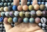 CAA1382 15.5 inches 16mm round matte plated druzy agate beads