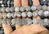 CAA1447 15.5 inches 14mm round matte druzy agate beads