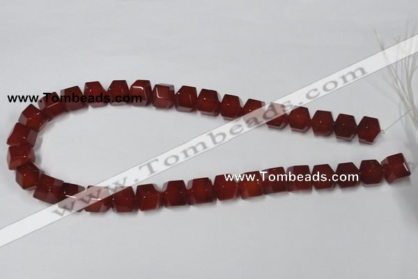 CAA146 15.5 inches 12*14mm faceted cube red agate gemstone beads