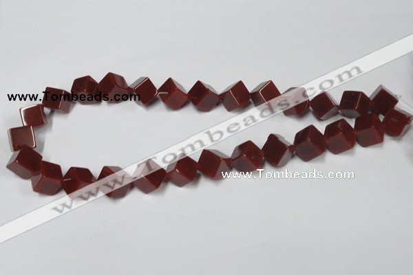 CAA148 15.5 inches 10*10mm cube red agate gemstone beads