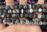 CAA1483 15.5 inches 12mm round matte banded agate beads wholesale