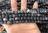 CAA1485 15.5 inches 6mm round matte banded agate beads wholesale