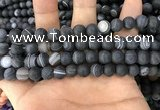 CAA1487 15.5 inches 10mm round matte banded agate beads wholesale