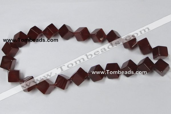 CAA149 15.5 inches 12*12mm cube red agate gemstone beads