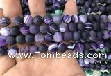 CAA1496 15.5 inches 8mm round matte banded agate beads wholesale