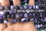 CAA1497 15.5 inches 10mm round matte banded agate beads wholesale