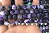 CAA1498 15.5 inches 12mm round matte banded agate beads wholesale