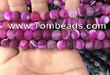 CAA1502 15.5 inches 10mm round matte banded agate beads wholesale