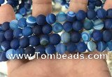 CAA1508 15.5 inches 12mm round matte banded agate beads wholesale