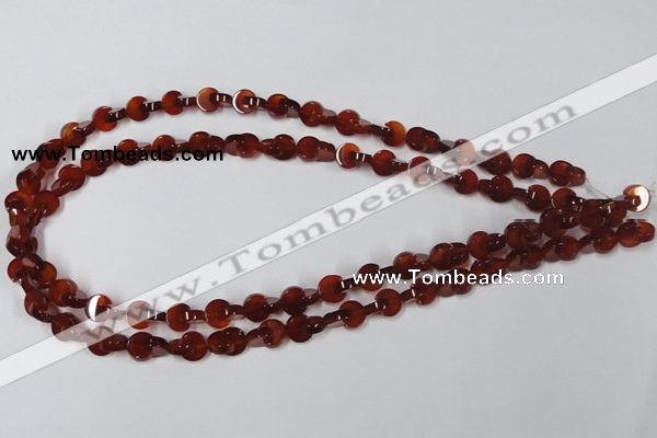 CAA151 15.5 inches 8*8mm curved moon red agate gemstone beads