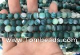 CAA1511 15.5 inches 8mm round matte banded agate beads wholesale