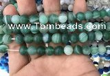 CAA1517 15.5 inches 10mm round matte banded agate beads wholesale