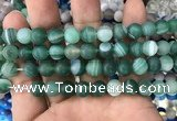 CAA1518 15.5 inches 12mm round matte banded agate beads wholesale