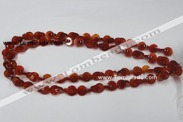 CAA152 15.5 inches 10*10mm curved moon red agate gemstone beads