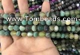 CAA1520 15.5 inches 6mm round matte banded agate beads wholesale
