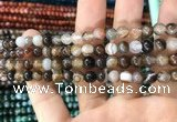 CAA1537 15.5 inches 6mm round banded agate beads wholesale