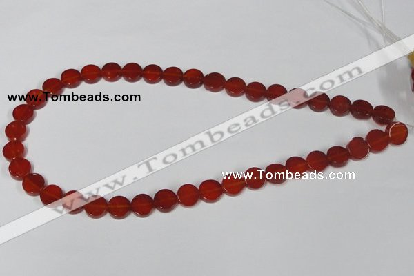 CAA155 15.5 inches 10mm coin red agate gemstone beads