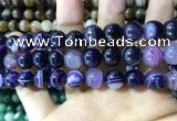 CAA1558 15.5 inches 12mm round banded agate beads wholesale