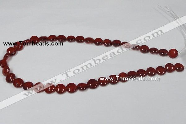 CAA156 15.5 inches 10mm flat round red agate gemstone beads